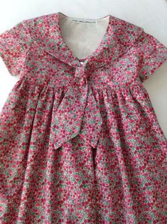 Items similar to Classic Liberty of London Girls Sailor Dress on Etsy Inspiration for the Oliver + S Building Block Dress book Girls Frock Design, Baby Dress Design, Baby Girl Dress Patterns, Frock Patterns, Frocks For Girls, Little Girl Dresses, Girls Dresses, Baby Frocks Designs, Kids Frocks Design