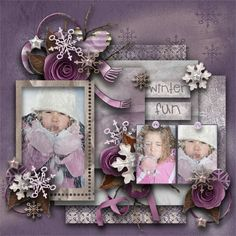 "Pretty lavender/purple ""Winter Fun""  scrapbook page layout"