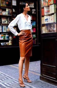 Brown #leather skirt.