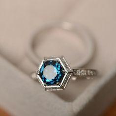 London blue topaz ring, engagement ring, sterling silver, promise ring, blue gemstone, wedding ring