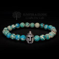 Mens Gift Bracelet , 8mm Turquoise Variscite Stone and 925 Sterling Silver Helmet charm , Gladiator Bracelet , GOT inspired by JUNIPERANDELOISE on Etsy