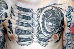 Biomechanical tattoos offer some of the most badass tattoo ideas for men. Even when they're done in a very graceful manner, gear and mechanical tattoo designs still pop for a…View Leg Tattoos Small, Leg Tattoo Men, Chest Tattoo, 3d Tattoos, Badass Tattoos, Back Tattoos, Biomechanical Tattoos, Simple Tattoo Designs, Tattoo Designs Men