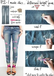 DIY Tutorial: Clothes Refashion / diy clothes recycled fashion - Bead You will need a fabric marker, jeans, sandpaper and something else. Comment ic you know what it says