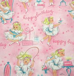 Vintage 1950s or 1960s Pink Juvenile Birthday Wrapping Paper