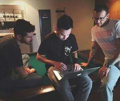 Brad,Mike,Chester in the studio