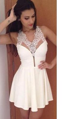 White V Neck Lace Dress