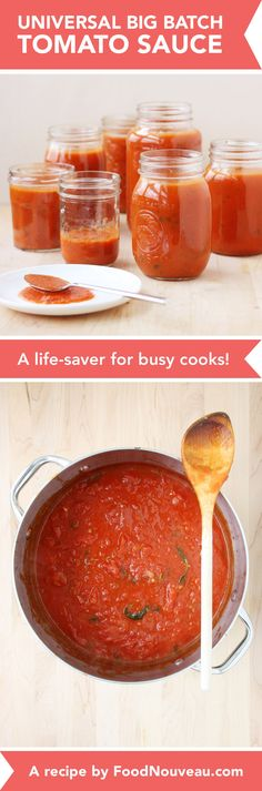 Big Batch Universal Tomato Sauce: A life-saving recipe for busy cooks! // FoodNouveau.com