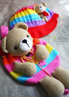 Crochet Cap and Bag / Rainbow / Bear #crochet #bag #cap