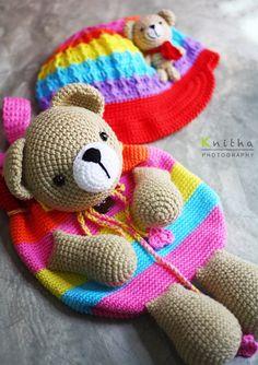 Crochet Cap and Bag / Rainbow / Bear #crochet #bag #cap