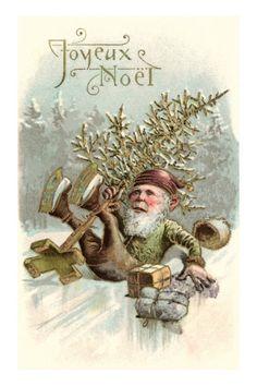 Art Print: Joyeux Noel, Elf Falling on Ice Art Print : Victorian Christmas, Vintage Christmas Cards, Christmas Items, Christmas Greeting Cards, Christmas Elf, Christmas Pictures, Christmas Greetings, Christmas Postcards, Father Christmas