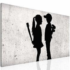 Bilder & Kunstdrucke Prestigeart, 3021137a Bild auf Vlies Leinwand , Wandbild , Banksy Graffiti - Street Art . Reproduction, 70 x 40 cm