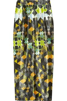 Penelope printed silk pencil skirt by Preen.