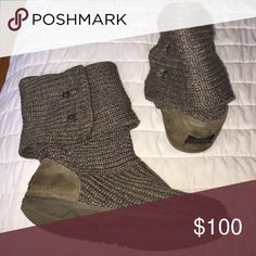 Grey knit uggs So cute so comfy UGG Shoes Ankle Boots & Booties