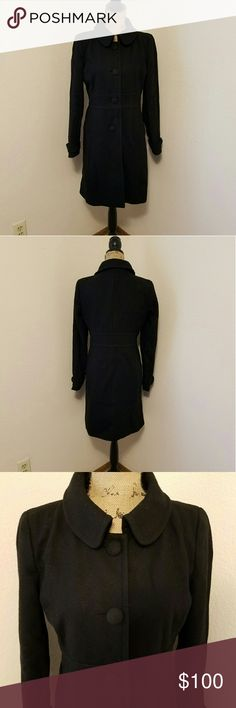 J. Crew Long Black Peacoat! Long black wool peacoat. 4 large buttons down the front. Wrist straps with accent button. Fitted natural waist. 2 front pockets. Length is about 36 inches and armpit to armpit is about 19 inches. Like new! J. Crew Jackets & Coats Pea Coats