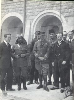 Jerusalem, March 28, 1921. T.E. Lawrence with Abdulla, RAF Commander-in-Chief Middle East Sir Geoffrey Salmond, and Brigadier General Sir Wyndham Deedes, the Chief Secretary to the Administration in Palestine.