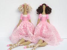 Rag doll ballerina fabric doll pink blonde от HappyDollsByLesya