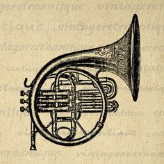 Printable French Horn Graphic Image Brass by VintageRetroAntique