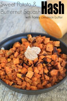 Sweet Potato & Butternut Squash Hash with Honey Cinnamon Butter   www.joyfulhealthyeats.com   #hash #sidedish #sweetpotato #butternut #holiday