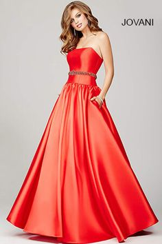 Red Strapless A-Line Prom Dress 34040