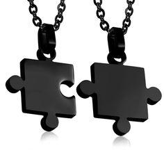Puzzle partnerské přívěšky - černé Puzzles, Dog Tags, Dog Tag Necklace, Jewelry, Dark Around Eyes, Jewlery, Puzzle, Jewerly, Schmuck