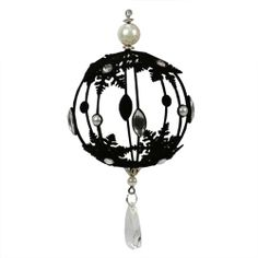 11 black flocked hollow ball with jewels and silver trim christmas ornament christmas decor - Gothic Christmas Decorations