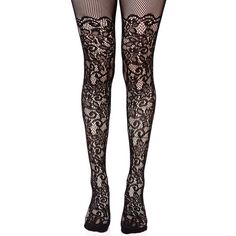 Black Floral Fishnet Stockings ($10) ❤ liked on Polyvore featuring intimates, hosiery, tights, pantyhose tights, sheer floral tights, floral tights, over the knee stockings and flower tights