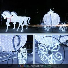 cd ls108 led lighted white christmas carriage with horses decorations carriages and sleighs - Christmas Lighted Horse Carriage Outdoor Decoration