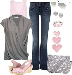 """polyvore pink and grey 