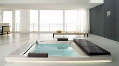 """Italian Bathroom - nice touch to upgrade a current bathroom.  Open spaces and an in-ground bath""""spa"""" make for a modern twist to the traditional bathroom"""