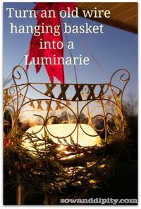 Use Frozen water spheres and old wire baskets for amazing outdoor winter decor lights!