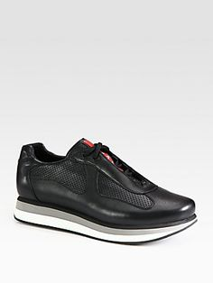 Prada America's Cup Perforated Leather Sneakers