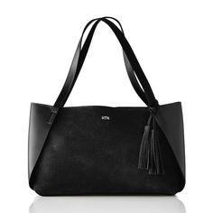Tassel Suede Handbag in Black | Mark and Graham