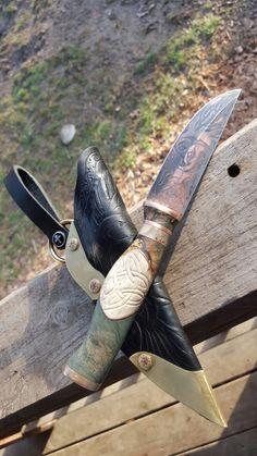 Custom EDC and sheath. Puukko. Copper etched blade. Carved leather sheath. By Nine Finger Knives. Darren Gabbard