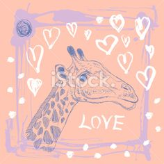 Card with cute giraffe and heart. Sketch. love. Pink lilac. Royalty Free Stock Vector Art Illustration