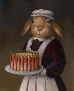 Edwardian Rabbit Cook Anthropomorphic Portrait Downton Abbey par CuriousPortraits