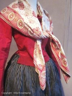Early french block printed Fichu/scarf | Villa Rosemaine