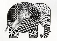 I am totally facinated with Zentangles. Elephant Zentangle II