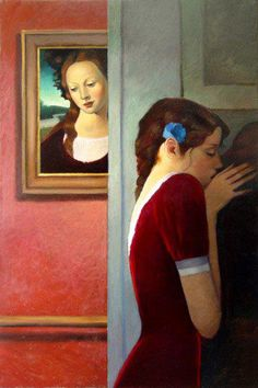 'Art Lovers' by American painter Billy Brauer. Oil on linen, 48 x 32 in. via the artist's site
