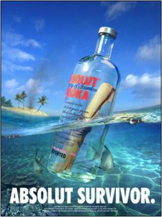 """Love this one because it associates the popular """"message in a bottle"""" phrase with the Absolut Vodka brand."""