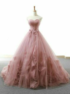 Pink Ball Gown Sweetheart Tulle Applique Wedding Dress – … – New Ideas – Wedding Gown Blush Prom Dress, Pretty Prom Dresses, Sweet 16 Dresses, Pink Dresses, Dress Prom, 15 Dresses, Debut Dresses, Blush Gown, Hijab Dress