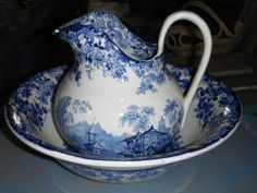 Vintage Antique RARE Blue White Minton Scenic Bowl and Pitcher Ewer Genevese | eBay