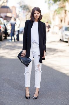 look all white blazer preto
