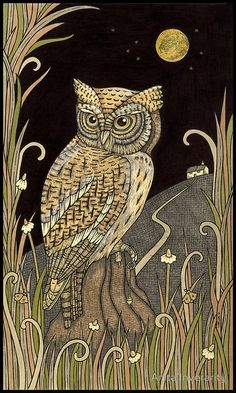 Amazing owl artwork by Scottish artist Anita Inverarity, found via My Owl Barn - Click the pin to see more! Owl Photos, Owl Pictures, Owl Bird, Bird Art, Art And Illustration, Motifs Art Nouveau, Owl Artwork, Halloween Owl, Owl Patterns