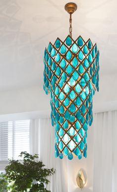 Aqua Chandelier - Foter - Home Decoration Deco Luminaire, Decoration, Light Fixtures, Beautiful Homes, House Design, Interior Design, House Styles, Turquoise Chandelier, Chandelier Art