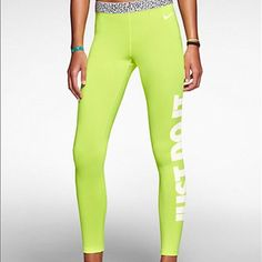 Nike Pro Training Pants So cute and perfect for workouts! The Nike® women's Pro Hyperwarm® Mezzo compression tights are made with stretch Dri-FIT® fabric and a brushed interior to battle sweat and help keep the cold at bay. Colors are volt and white. Nike Pants Track Pants & Joggers