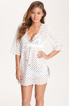 Tory Burch Eyelet Cover-Up Dress nordstrom sexy swim cover up beach cover up white dress white swim cover up swimwear honeymoon clothing wedding party blog