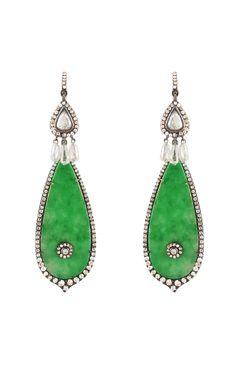 Silvia Furmanovich Jade and Diamond Earrings at Moda Operandi