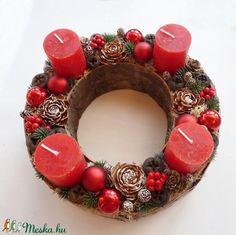 Adventi koszorú piros gyertyás (Decoflor) - Meska.hu Advent Calendar, Christmas Wreaths, Holiday Decor, Diy, Home Decor, Decoration Home, Bricolage, Room Decor, Advent Calenders