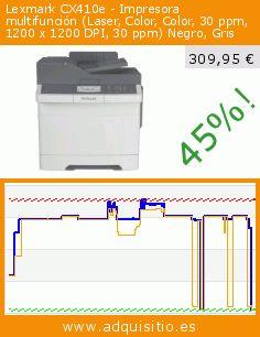 Lexmark CX410e - Impresora multifunción (Laser, Color, Color, 30 ppm, 1200 x 1200 DPI, 30 ppm) Negro, Gris (Ordenadores personales). Baja 45%! Precio actual 309,95 €, el precio anterior fue de 565,88 €. https://www.adquisitio.es/lexmark/cx410e-impresora