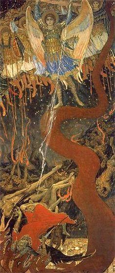Archangel Michael, 1915 by Viktor Vasnetsov. Symbolism. religious painting